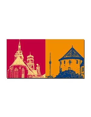 ART-DOMINO® BY SABINE WELZ Stuttgart - Stiftskirche + Fernsehturm / Altes Schloss