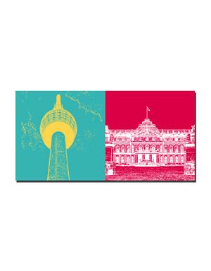 ART-DOMINO® BY SABINE WELZ Stuttgart - Fernsehturm + Neues Schloss