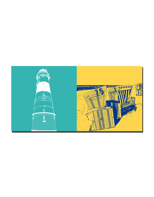 ART-DOMINO® BY SABINE WELZ Sylt - Leuchtfeuer Kampen + Strandkörbe Weststrand