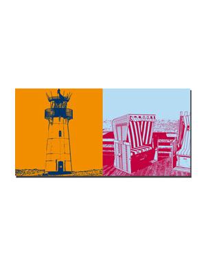 ART-DOMINO® BY SABINE WELZ Sylt - Leuchtturm List-West + Strandkörbe auf Holzsteg