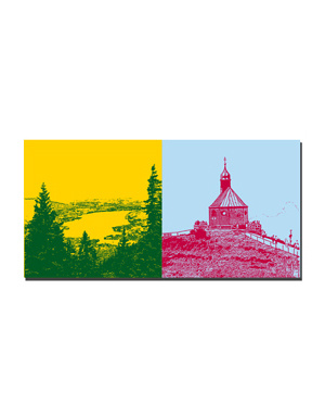 ART-DOMINO® BY SABINE WELZ Tegernsee - Blick vom Wallberg + Kirche auf dem Wallberg