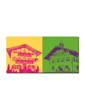 ART-DOMINO® BY SABINE WELZ Tegernsee - Bad Wiessee-Gasthof zur Post + Bad Wiessee-Rathaus