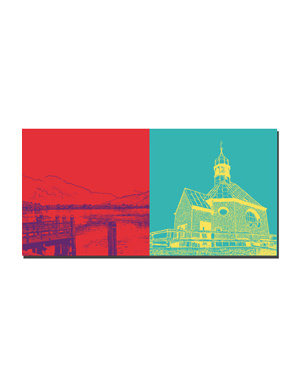 ART-DOMINO® BY SABINE WELZ Tegernsee - Blick Tegernsee + Wallberg, Heilig Kreuz-Kirche