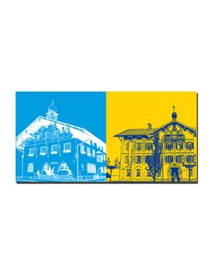 ART-DOMINO® BY SABINE WELZ Tegernsee - Bad Wiessee-Rathaus + Tegernsee - Rathaus