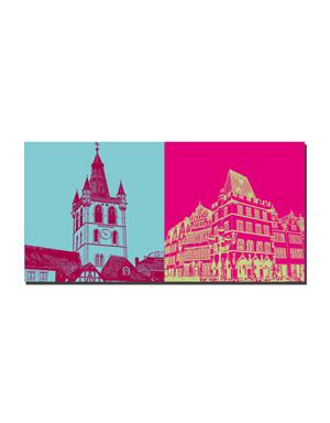 ART-DOMINO® BY SABINE WELZ Trier - St. Gandolf Turm + Hauptmarkt