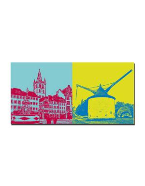 ART-DOMINO® BY SABINE WELZ Trier - St. Gandolf und Petrusbrunnen + Alter Krahnen