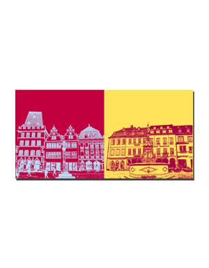 ART-DOMINO® BY SABINE WELZ Trier - Hauptmarkthäuser + Hauptmarkt am Petrusbrunnen