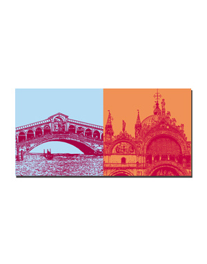 ART-DOMINO® BY SABINE WELZ Venedig - Rialtobrücke + Basilika di San Marco