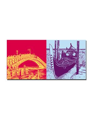 ART-DOMINO® BY SABINE WELZ Venedig - L'accademia Brücke + Gondel