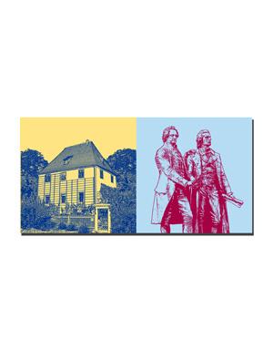 ART-DOMINO® BY SABINE WELZ Weimar - Goethes Gartenhaus + Goethe und Schiller Denkmal