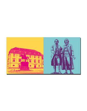 ART-DOMINO® BY SABINE WELZ Weimar - Anna Amalia Bibliothek + Goethe und Schiller Denkmal