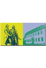 ART-DOMINO® BY SABINE WELZ Weimar - Goethe und Schiller Denkmal + Goethe-Nationalmuseum