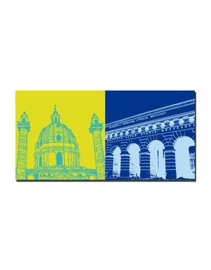 ART-DOMINO® BY SABINE WELZ Wien - Karlskirche + Burgtor