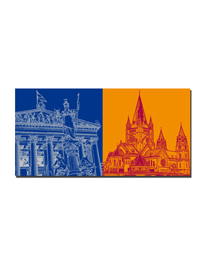 ART-DOMINO® BY SABINE WELZ Wien - Parlament + Franz von Assisi Kirche