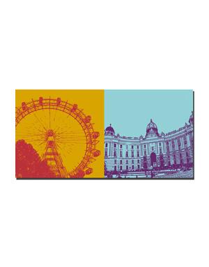 ART-DOMINO® BY SABINE WELZ Wien - Riesenrad im Prater + Hofburg