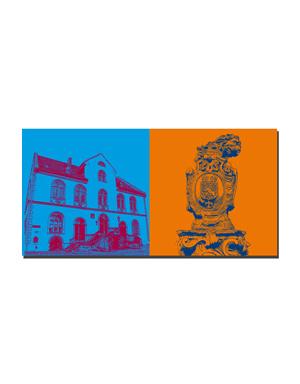 ART-DOMINO® BY SABINE WELZ Wiesbaden - Altes Rathaus + Marktbrunnen