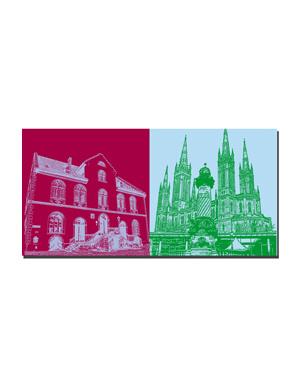 ART-DOMINO® BY SABINE WELZ Wiesbaden - Altes Rathaus + Dernsches Gelände mit Marktsäule