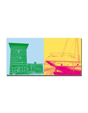 """ART-DOMINO® BY SABINE WELZ Wilhelmshaven - Volker sein Turm + Schiffsbug der """"Weser"""""""