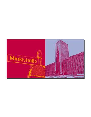 """ART-DOMINO® BY SABINE WELZ Wilhelmshaven - Schild """"Marktstrasse"""" + Rathaus"""