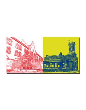 ART-DOMINO® BY SABINE WELZ Wilhelmshaven - Brunnen Rheinstrasse + Ehemalige Lotsenbrüderschaft Wachstation