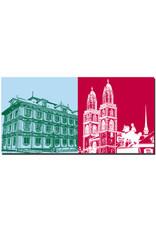 ART-DOMINO® BY SABINE WELZ Zürich - Rathaus + Großmünster mit Reiterdenkmal