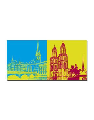 ART-DOMINO® BY SABINE WELZ Zürich - Frauenmünster/Münsterbrücke + Großmünster