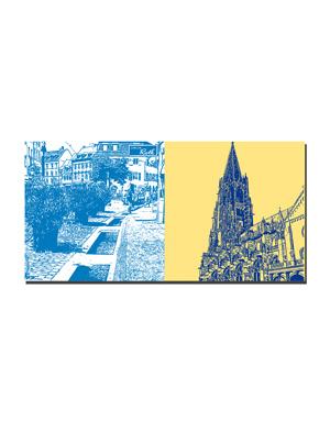 ART-DOMINO® BY SABINE WELZ Freiburg - Bächle + Münsterkirche