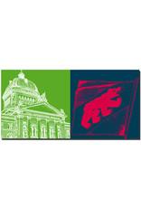 ART-DOMINO® BY SABINE WELZ Bern - Bundeshaus + Stadtflagge