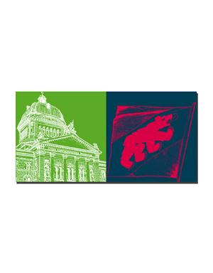 ART-DOMINO® BY SABINE WELZ Berne - Palais fédéral + Drapeau de la ville