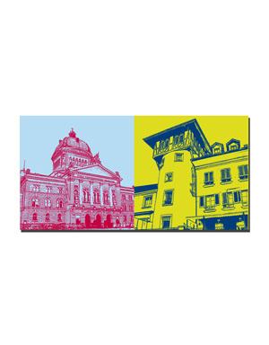 ART-DOMINO® BY SABINE WELZ Bern - Bundeshaus + Holländerturm