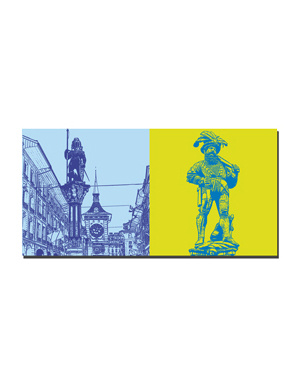 ART-DOMINO® BY SABINE WELZ Bern - Zähringerbrunnen + Ryfflibrunnen