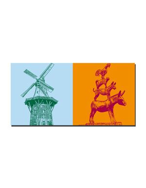 ART-DOMINO® BY SABINE WELZ Bremen - Mühle am Wall + Stadtmusikanten