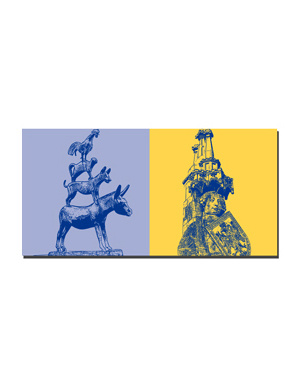 ART-DOMINO® BY SABINE WELZ Bremen - Stadtmusikanten + Roland