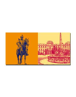 ART-DOMINO® BY SABINE WELZ Darmstadt - Reiterdenkmal Ludwig IV + Marktplatz mit Residenzschloss