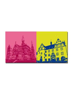 ART-DOMINO® BY SABINE WELZ Darmstadt - Russische Kapelle + Altes Rathaus