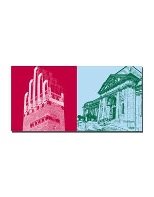 ART-DOMINO® BY SABINE WELZ Darmstadt - Hochzeitsturm + Hessisches Landesmuseum