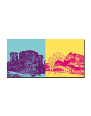 ART-DOMINO® BY SABINE WELZ Darmstadt - Hinkelsturm und Stadtmauer + Darmstadtium