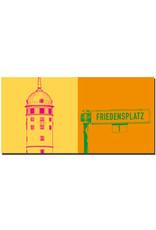 ART-DOMINO® BY SABINE WELZ Darmstadt - Weisser Turm + Schild Friedensplatz
