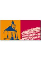 ART-DOMINO® BY SABINE WELZ Darmstadt - Stadtkirche + Regierungspräsidium