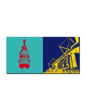 ART-DOMINO® by SABINE WELZ Dortmund - Florianturm + Westfalenstadion