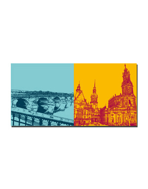 ART-DOMINO® BY SABINE WELZ Dresden - Augustusbrücke + Altstadtblick