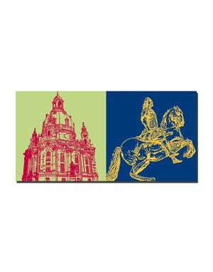 ART-DOMINO® by SABINE WELZ Dresden - Frauenkirche + Goldener Reiter