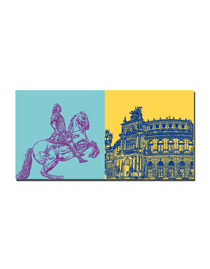 ART-DOMINO® BY SABINE WELZ Dresden - Goldener Reiter + Semperoper