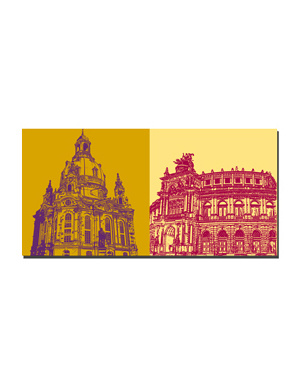 ART-DOMINO® BY SABINE WELZ Dresden - Frauenkirche + Semperoper