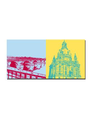 ART-DOMINO® BY SABINE WELZ Dresden - Augustusbrücke + Frauenkirche