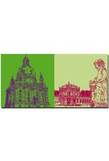 ART-DOMINO® by SABINE WELZ Dresden - Frauenkirche + Zwinger-Wallpavillon