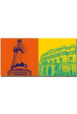 ART-DOMINO® by SABINE WELZ Milan - Monumento a Leonardo da Vinci + Teatro alla Scala