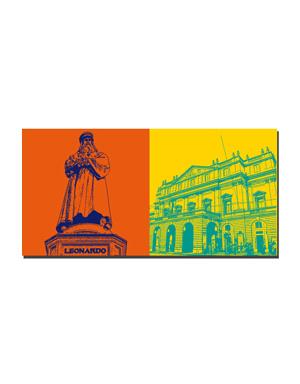 ART-DOMINO® BY SABINE WELZ Mailand - Monumento a Leonardo da Vinci + Teatro alla Scala
