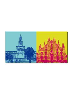 ART-DOMINO® by SABINE WELZ Milan - Castello Sforzesco + Duomo
