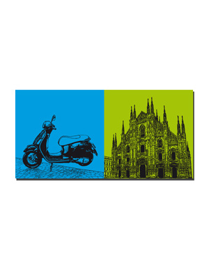 ART-DOMINO® by SABINE WELZ Milan - Vespa + Duomo